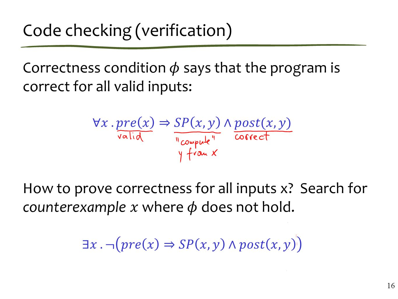 Code checking (verification) 16