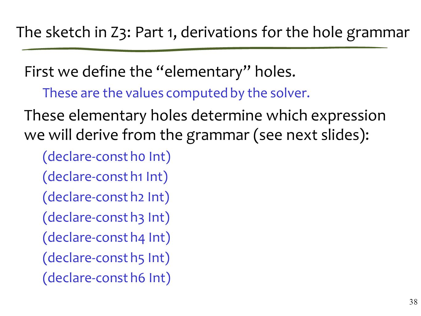 The sketch in Z3: Part 1, derivations for the hole grammar First we define the elementary holes.