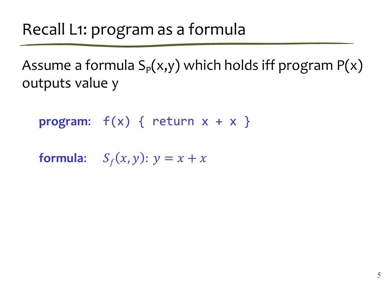 Recall L1: program as a formula 5