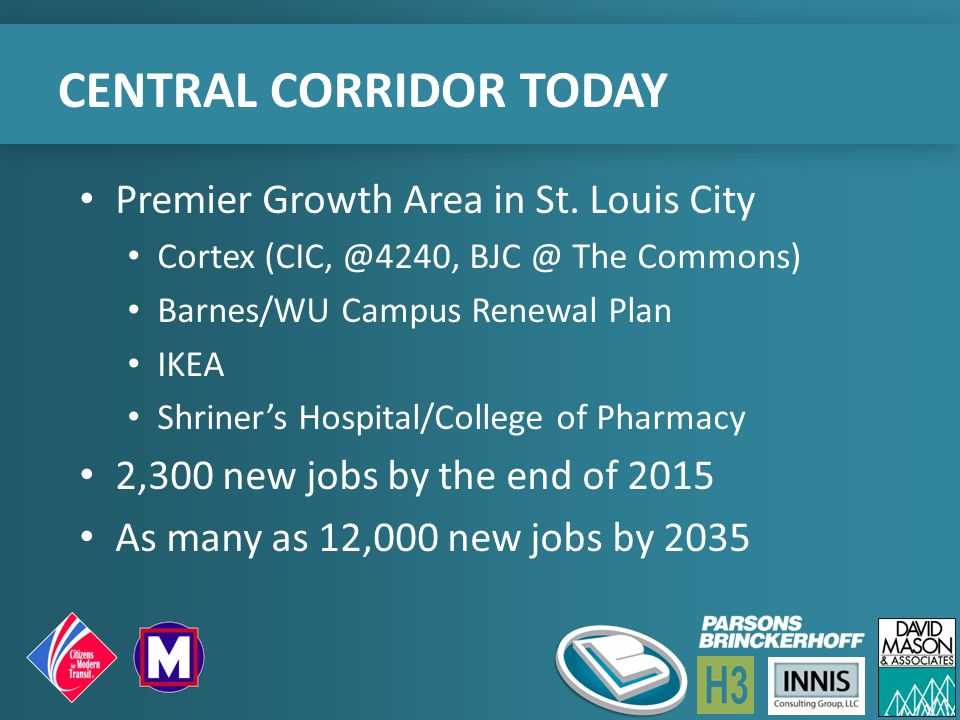 CENTRAL CORRIDOR TODAY Premier Growth Area in St. Louis City Cortex (CIC, @4240, BJC @ The Commons) Barnes/WU Campus Renewal Plan IKEA Shriner's Hospi