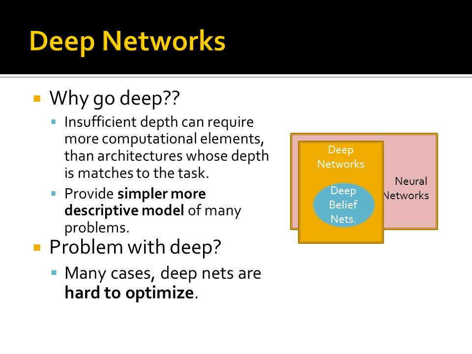  Why go deep??  Insufficient depth can require more computational elements, than architectures whose depth is matches to the task.  Provide simpler