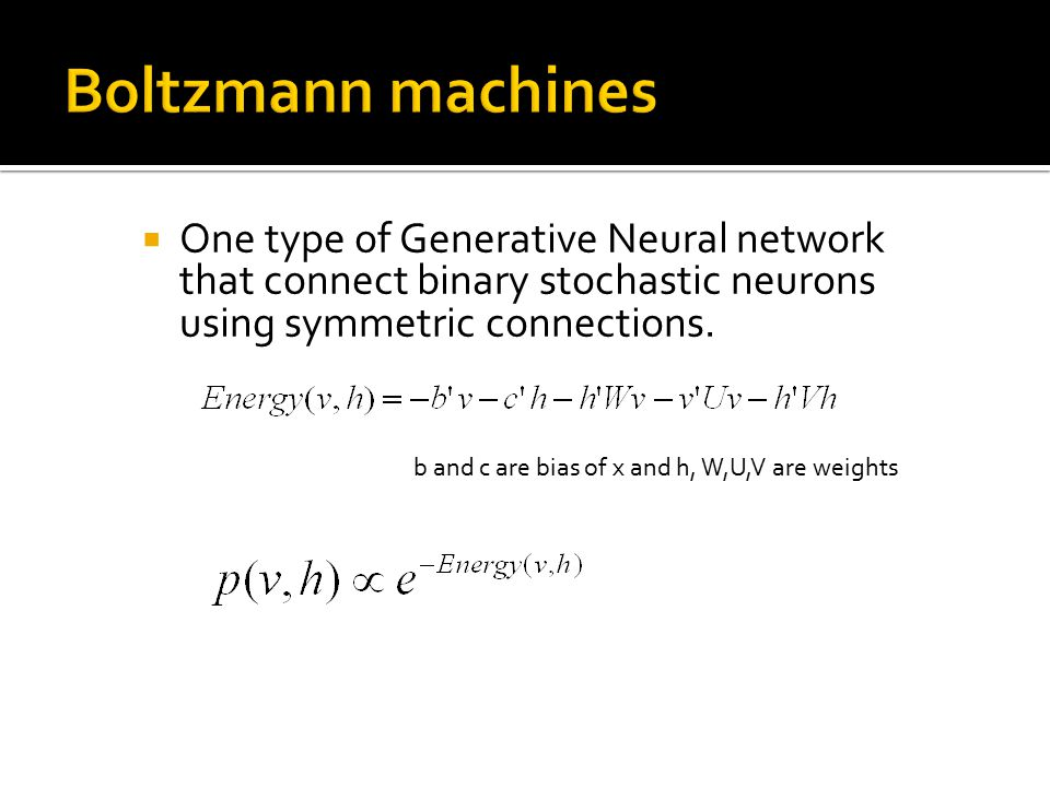  One type of Generative Neural network that connect binary stochastic neurons using symmetric connections. b and c are bias of x and h, W,U,V are wei