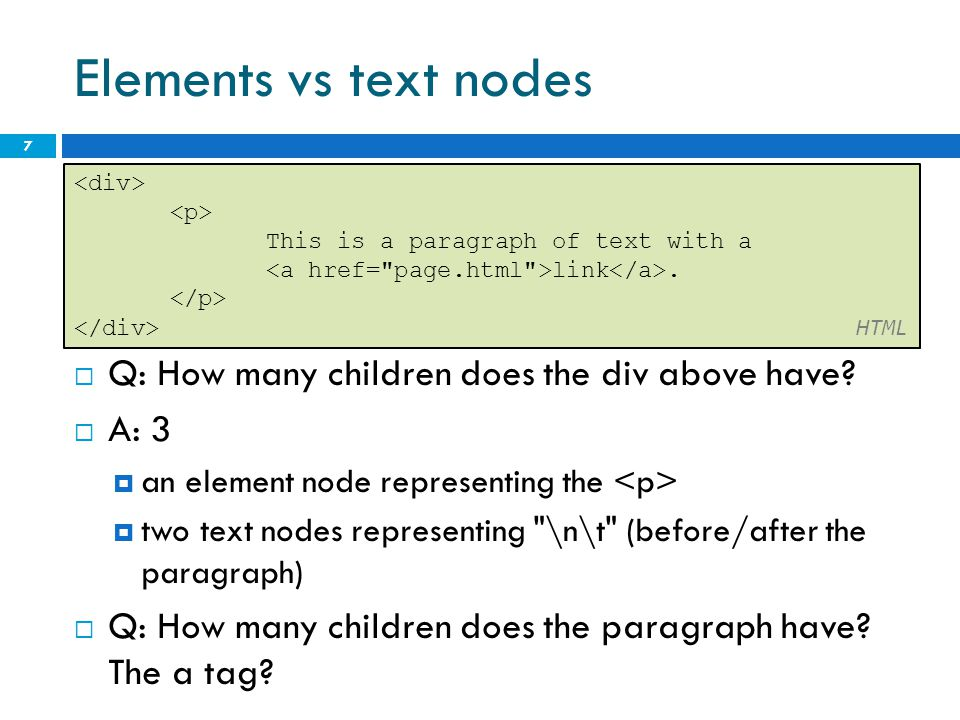 Elements vs text nodes  Q: How many children does the div above have.