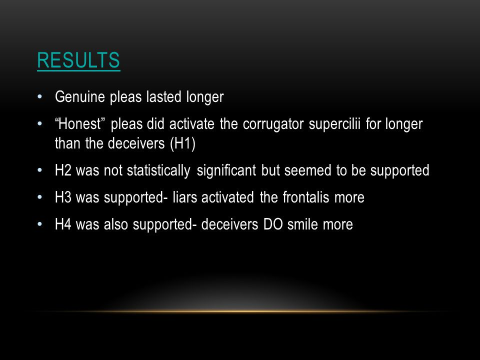 RESULTS Genuine pleas lasted longer Honest pleas did activate the corrugator supercilii for longer than the deceivers (H1) H2 was not statistically significant but seemed to be supported H3 was supported- liars activated the frontalis more H4 was also supported- deceivers DO smile more