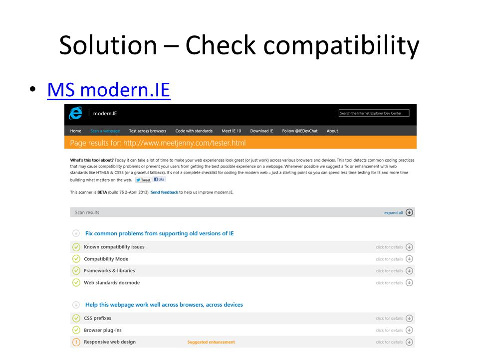 Solution – Check compatibility MS modern.IE