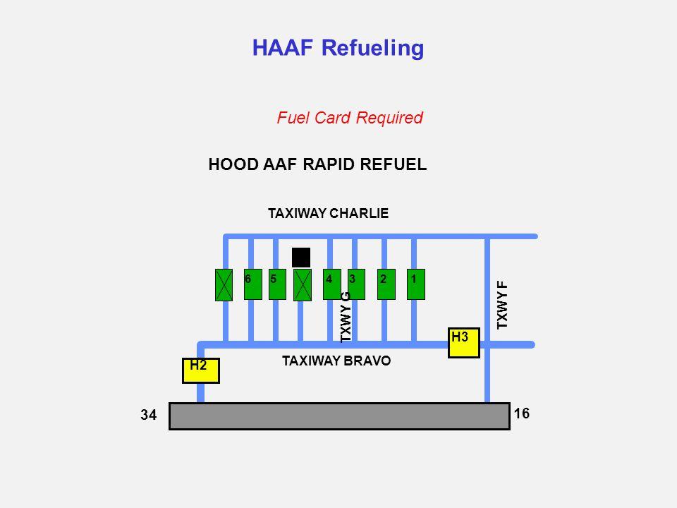 HAAF Refueling HOOD AAF RAPID REFUEL H2 H3 TAXIWAY CHARLIE TAXIWAY BRAVO 16 34 TXWY F 123456 Fuel Card Required TXWY G