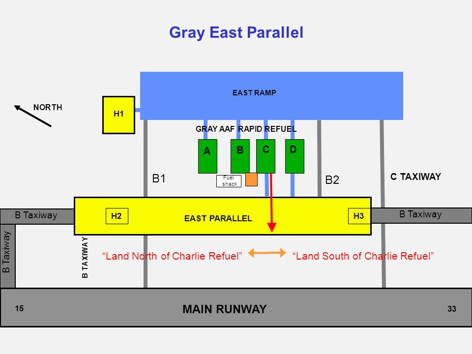 """B Taxiway Gray East Parallel NORTH 33 EAST RAMP H1 H2 H3 EAST PARALLEL A B C D 15 C TAXIWAY B TAXIWAY GRAY AAF RAPID REFUEL MAIN RUNWAY """"Land South of"""