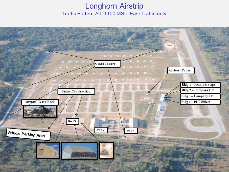 Vehicle Parking Area Aircraft Wash Rack Bldg 1 – AME/Base Ops Bldg 2 – Company CP Bldg 3 – Company CP Bldg 4 – PLT Billets Advisory Tower Pad 3 Pad 2