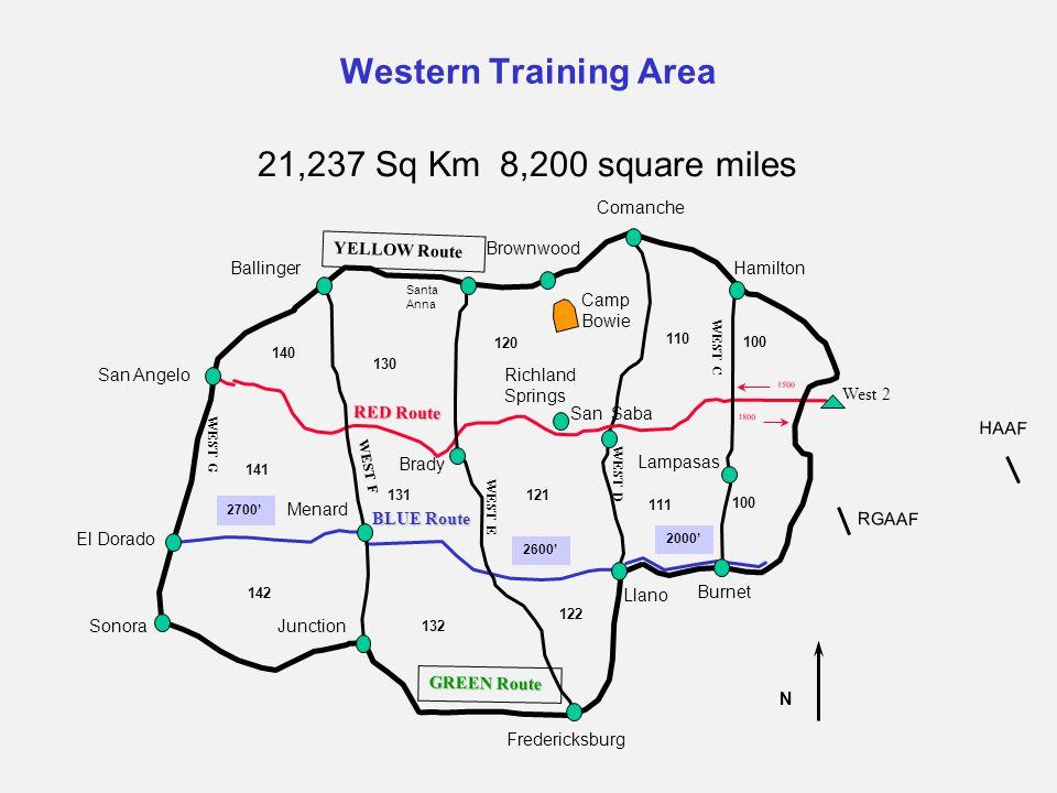 Western Training Area 21,237 Sq Km 8,200 square miles San Angelo Sonora El Dorado N 100 122 120 121 132 131 140 130 141 142 111 110 Ballinger Frederic