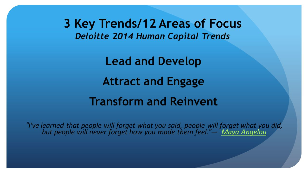 "3 Key Trends/12 Areas of Focus Deloitte 2014 Human Capital Trends Lead and Develop Attract and Engage Transform and Reinvent ""I've learned that people"