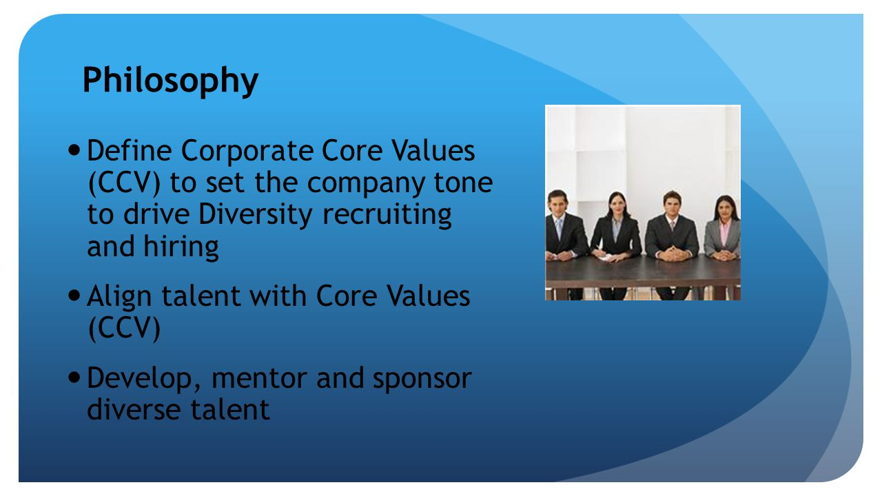 Philosophy Define Corporate Core Values (CCV) to set the company tone to drive Diversity recruiting and hiring Align talent with Core Values (CCV) Dev