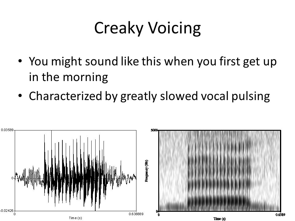 Creaky Voicing You might sound like this when you first get up in the morning Characterized by greatly slowed vocal pulsing
