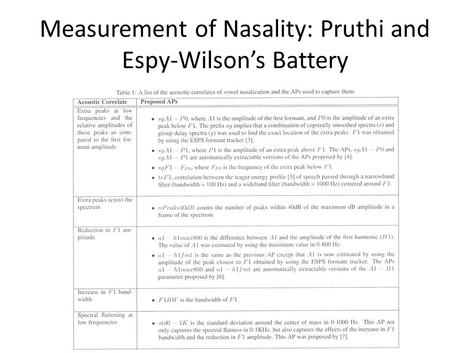 Measurement of Nasality: Pruthi and Espy-Wilson's Battery