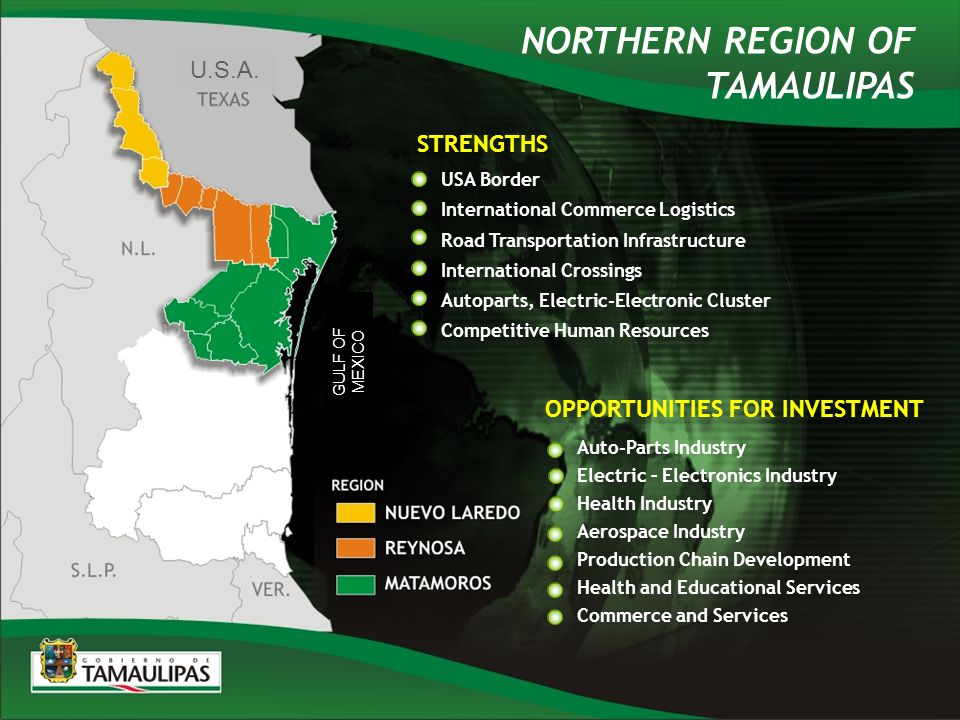 USA Border International Commerce Logistics Road Transportation Infrastructure International Crossings Autoparts, Electric-Electronic Cluster Competitive Human Resources STRENGTHS Auto-Parts Industry Electric – Electronics Industry Health Industry Aerospace Industry Production Chain Development Health and Educational Services Commerce and Services OPPORTUNITIES FOR INVESTMENT NORTHERN REGION OF TAMAULIPAS U.S.A.
