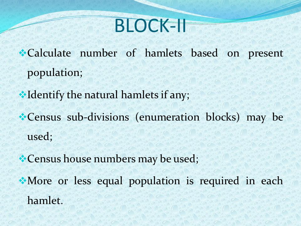 BLOCK-II  Calculate number of hamlets based on present population;  Identify the natural hamlets if any;  Census sub-divisions (enumeration blocks)