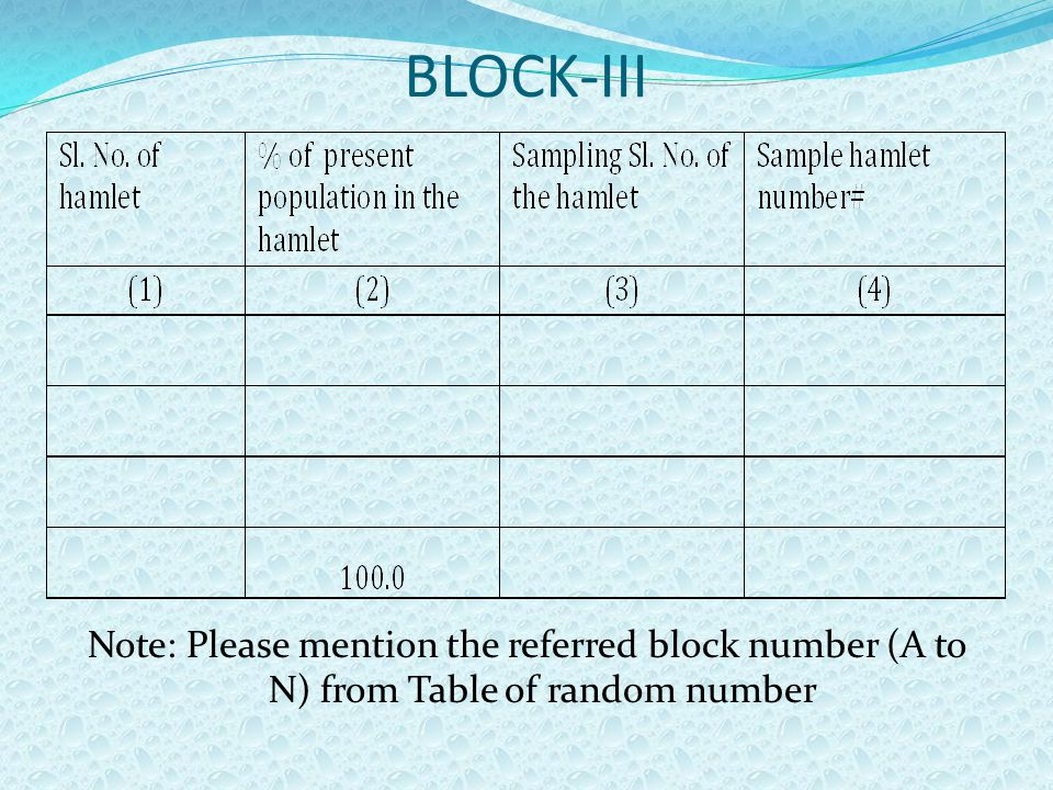 BLOCK-III Note: Please mention the referred block number (A to N) from Table of random number