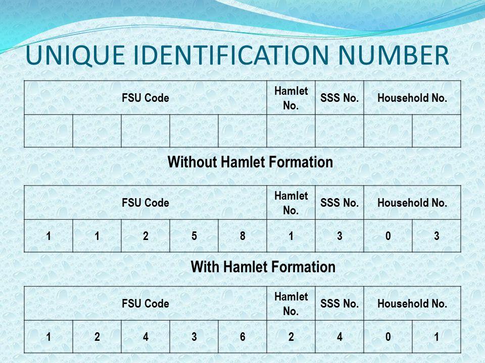 UNIQUE IDENTIFICATION NUMBER FSU Code Hamlet No. SSS No.Household No. FSU Code Hamlet No. SSS No.Household No. 124362401 FSU Code Hamlet No. SSS No.Ho