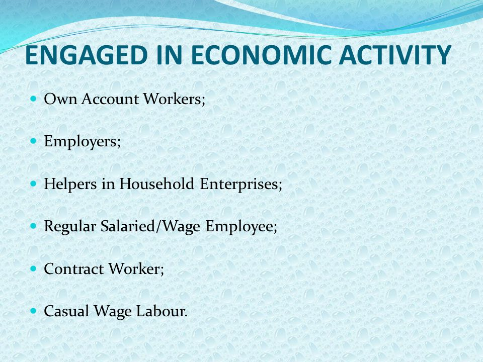 ENGAGED IN ECONOMIC ACTIVITY Own Account Workers; Employers; Helpers in Household Enterprises; Regular Salaried/Wage Employee; Contract Worker; Casual