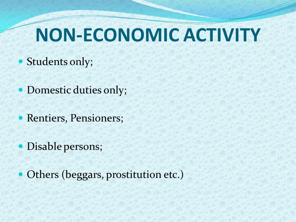 NON-ECONOMIC ACTIVITY Students only; Domestic duties only; Rentiers, Pensioners; Disable persons; Others (beggars, prostitution etc.)