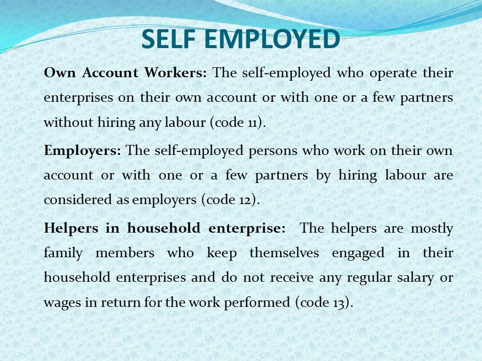 SELF EMPLOYED Own Account Workers: The self-employed who operate their enterprises on their own account or with one or a few partners without hiring any labour (code 11).