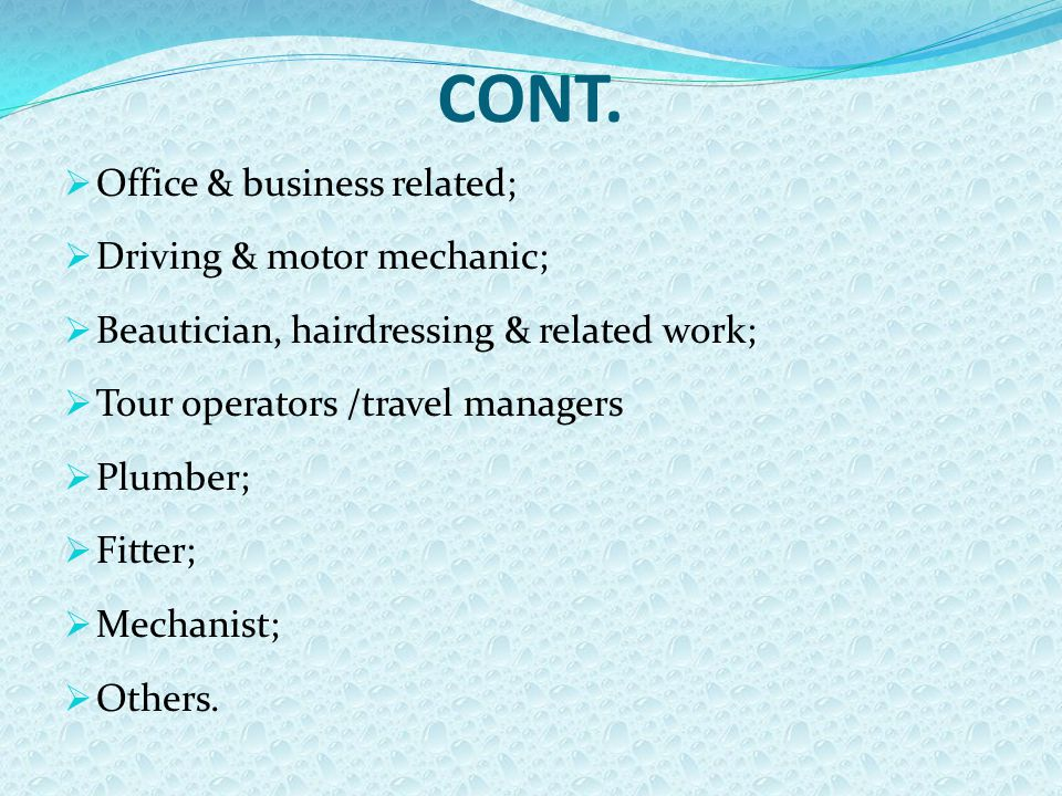 CONT.  Office & business related;  Driving & motor mechanic;  Beautician, hairdressing & related work;  Tour operators /travel managers  Plumber;