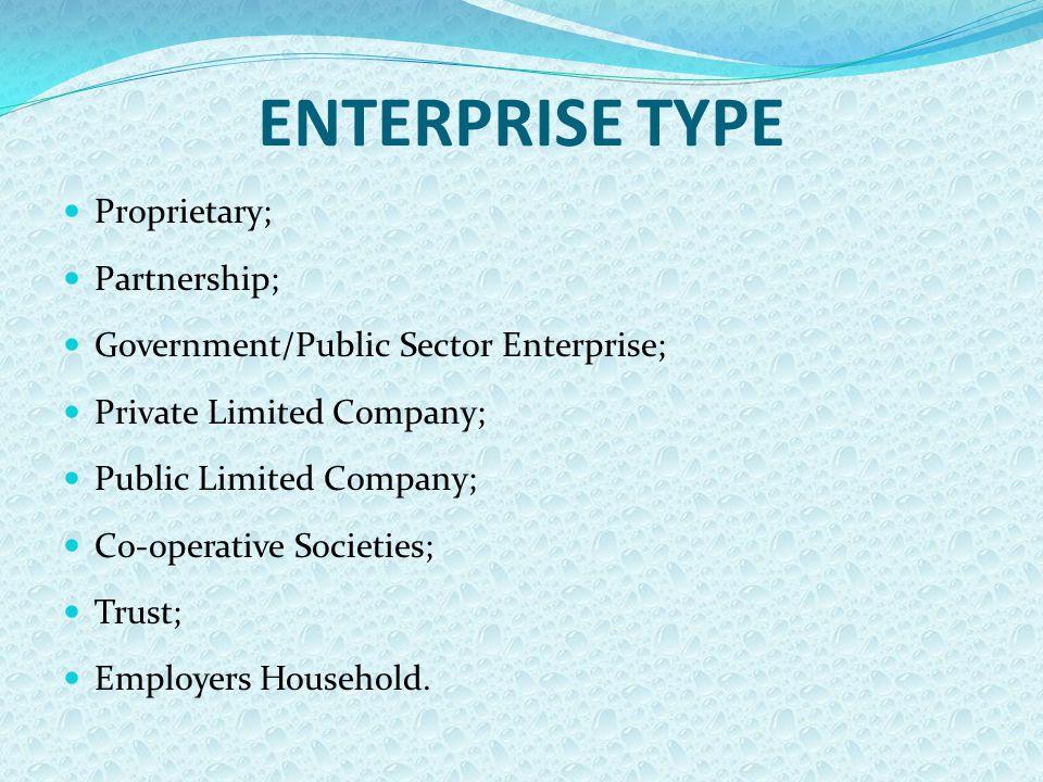 ENTERPRISE TYPE Proprietary; Partnership; Government/Public Sector Enterprise; Private Limited Company; Public Limited Company; Co-operative Societies