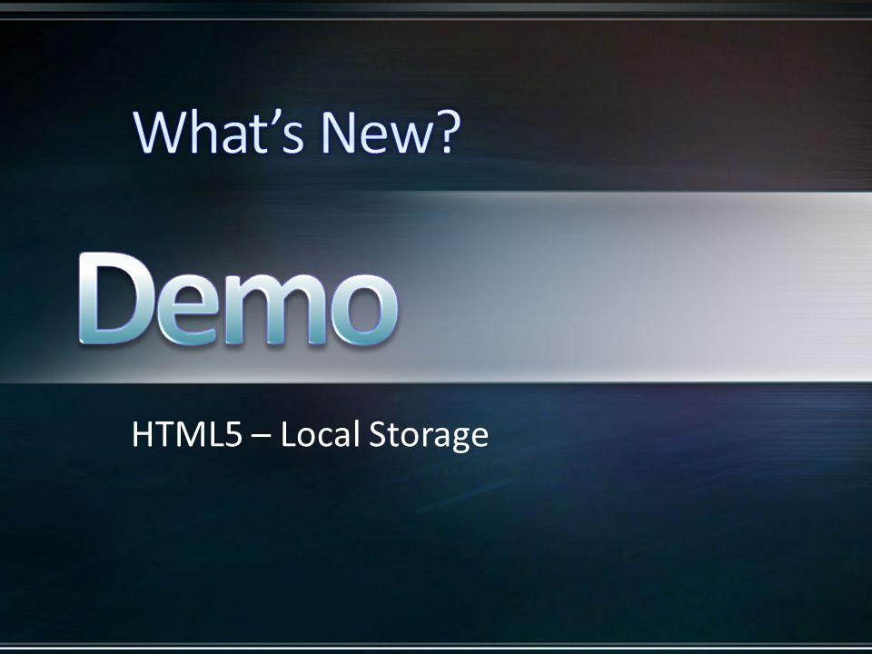 HTML5 – Local Storage
