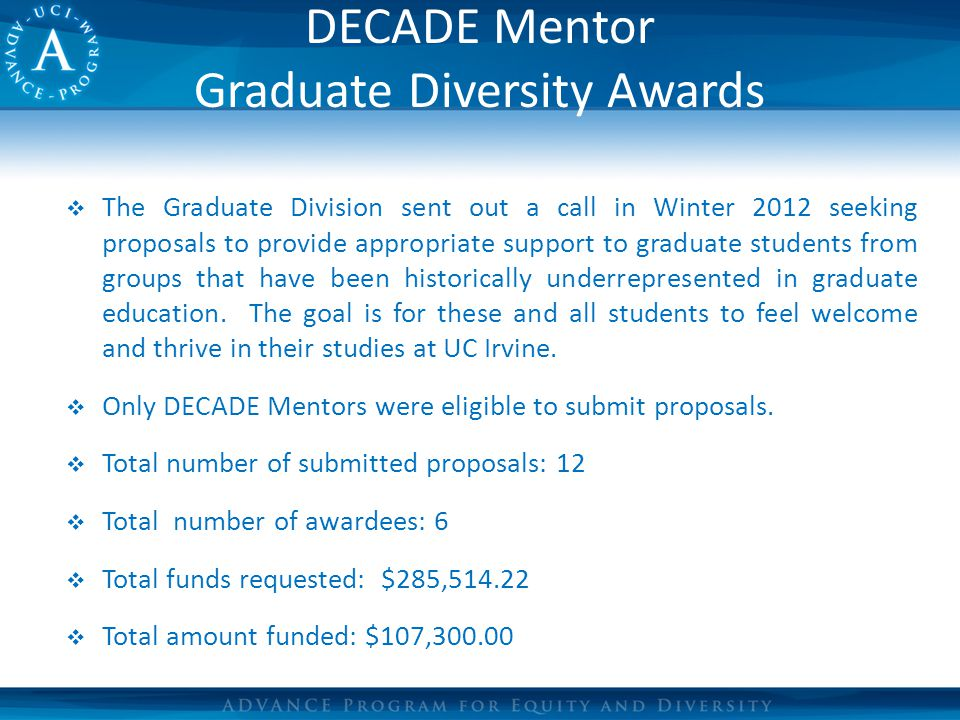 DECADE Mentor Graduate Diversity Awards  The Graduate Division sent out a call in Winter 2012 seeking proposals to provide appropriate support to graduate students from groups that have been historically underrepresented in graduate education.