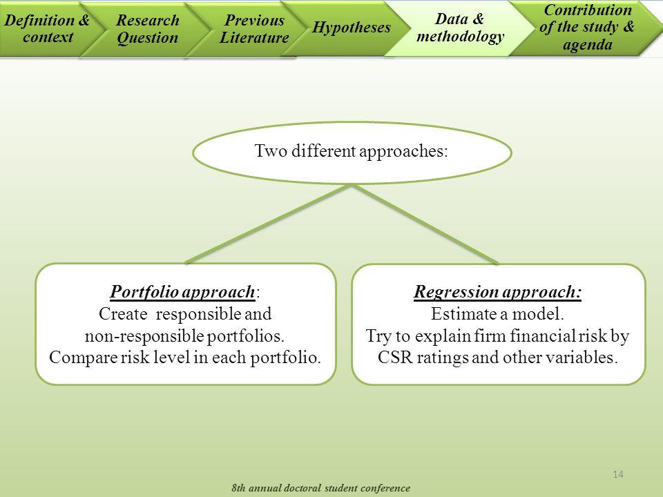 14 Portfolio approach: Create responsible and non-responsible portfolios. Compare risk level in each portfolio. Regression approach: Estimate a model.