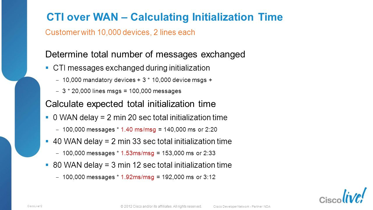 © 2012 Cisco and/or its affiliates. All rights reserved. Cisco Developer Network - Partner NDA CiscoLive12 CTI over WAN – Calculating Initialization T