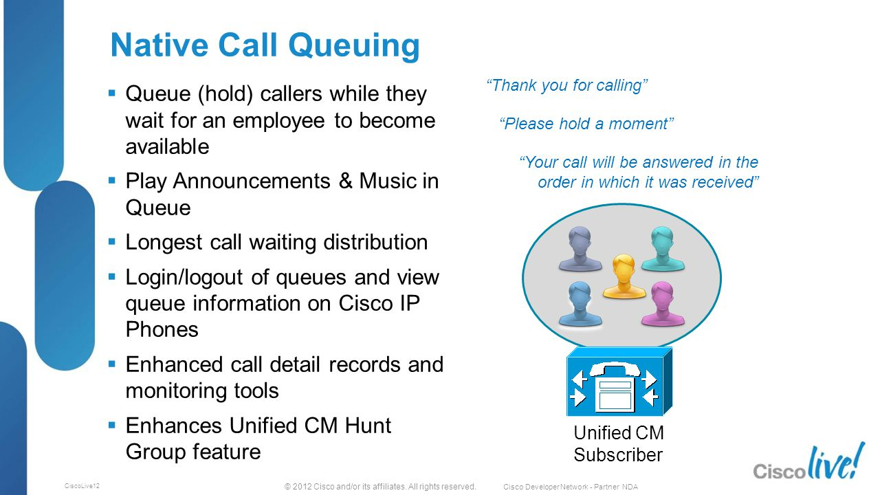 © 2012 Cisco and/or its affiliates. All rights reserved. Cisco Developer Network - Partner NDA CiscoLive12 Native Call Queuing  Queue (hold) callers