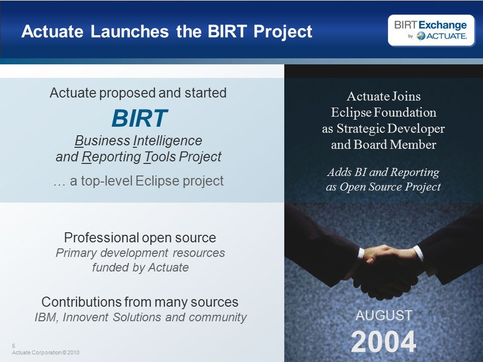 5 Actuate Corporation © 2010 Actuate Launches the BIRT Project AUGUST 2004 Actuate Joins Eclipse Foundation as Strategic Developer and Board Member Actuate proposed and started BIRT Business Intelligence and Reporting Tools Project … a top-level Eclipse project Adds BI and Reporting as Open Source Project Professional open source Primary development resources funded by Actuate Contributions from many sources IBM, Innovent Solutions and community
