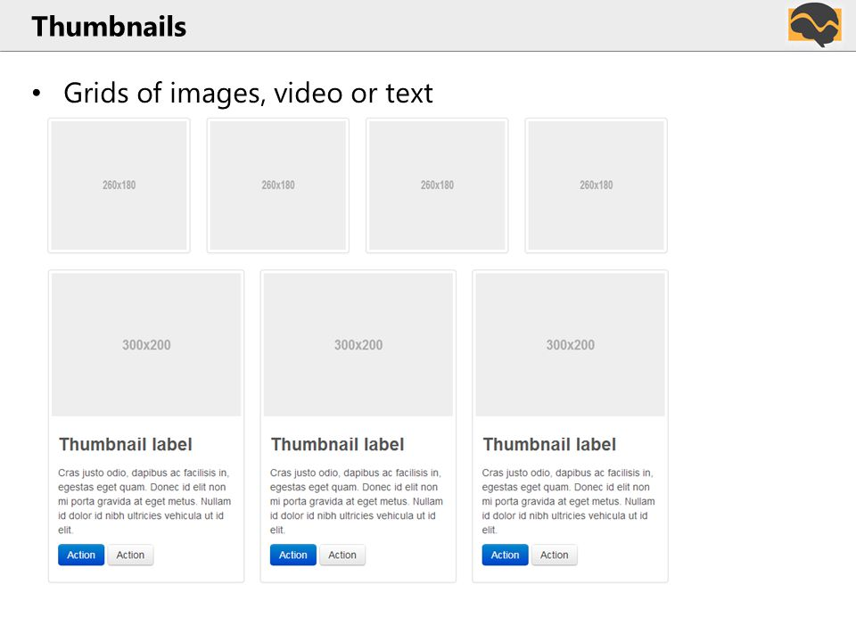 Thumbnails Grids of images, video or text