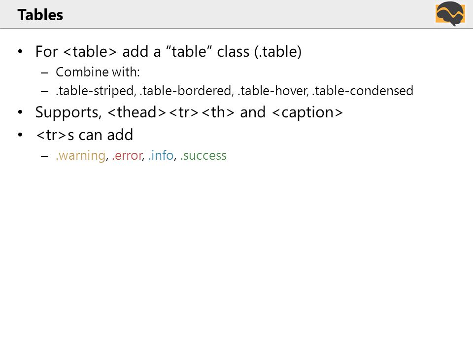 Tables For add a table class (.table) – Combine with: –.table-striped,.table-bordered,.table-hover,.table-condensed Supports, and s can add –.warning,.error,.info,.success
