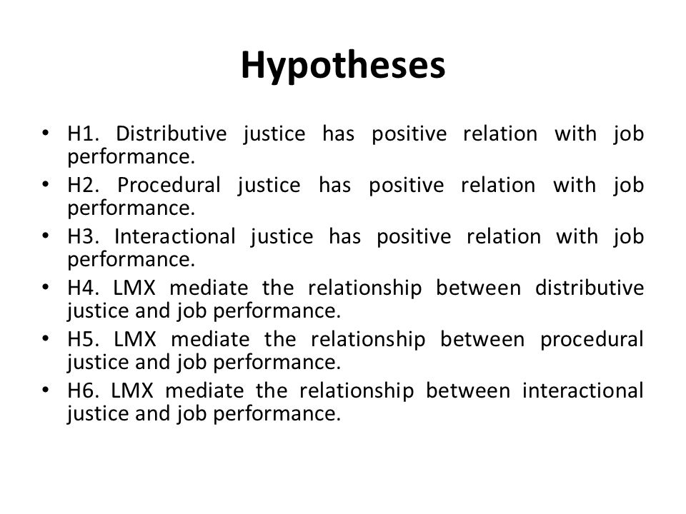 Hypotheses H1. Distributive justice has positive relation with job performance. H2. Procedural justice has positive relation with job performance. H3.