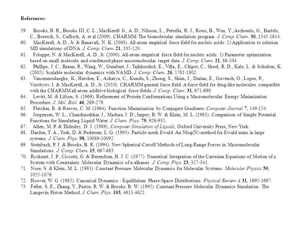 References: 59. Brooks, B. R., Brooks III, C. L., MacKerell Jr., A.
