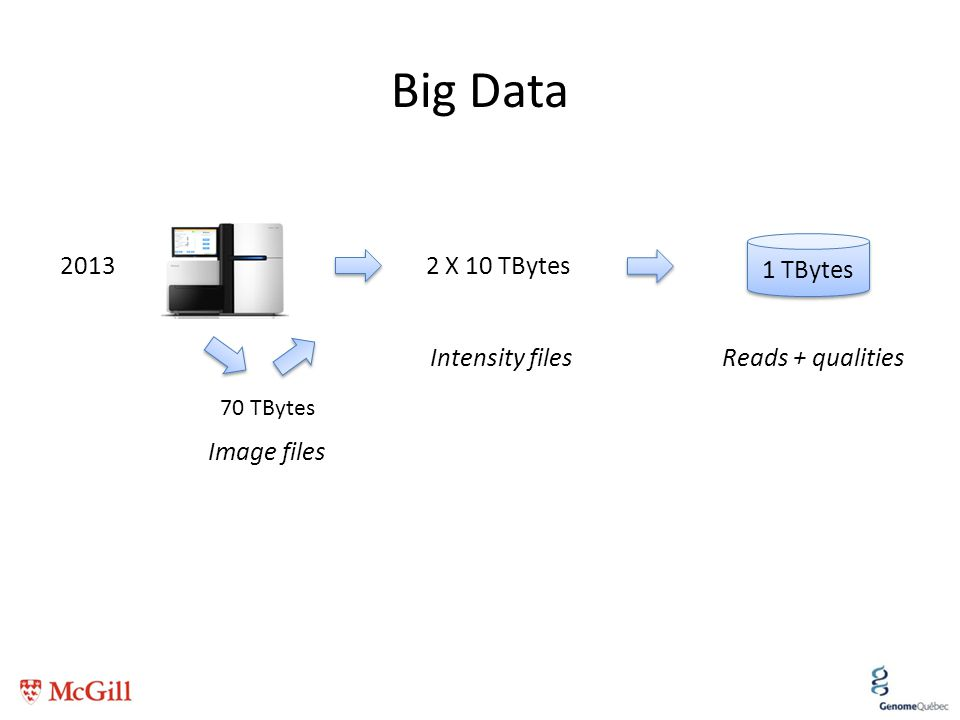 Big Data 1 TBytes 2013 2 X 10 TBytes Intensity filesReads + qualities 70 TBytes Image files