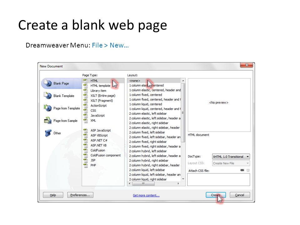 Create a blank web page Dreamweaver Menu: File > New…