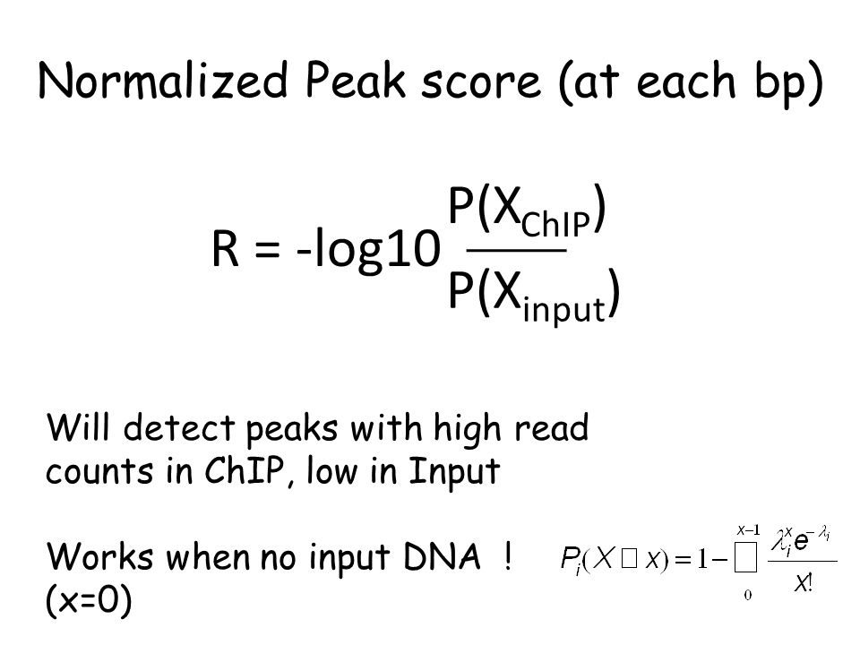 Normalized Peak score (at each bp) R = -log10 P(X input ) P(X ChIP ) Will detect peaks with high read counts in ChIP, low in Input Works when no input DNA .