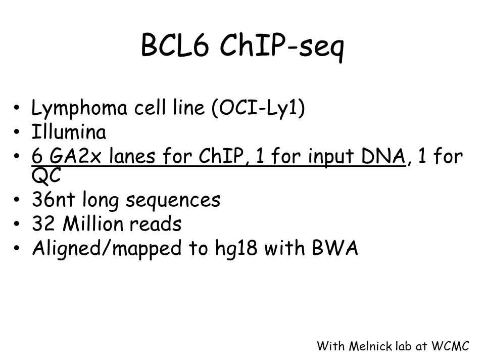 BCL6 ChIP-seq Lymphoma cell line (OCI-Ly1) Illumina 6 GA2x lanes for ChIP, 1 for input DNA, 1 for QC 36nt long sequences 32 Million reads Aligned/mapped to hg18 with BWA With Melnick lab at WCMC