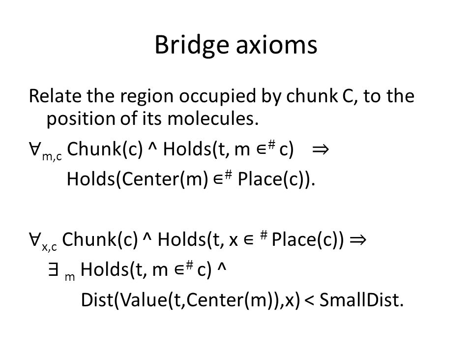 Bridge axioms Relate the region occupied by chunk C, to the position of its molecules.