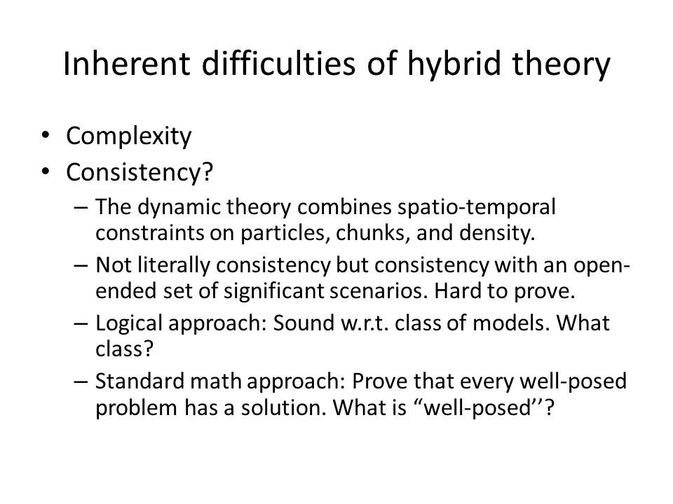 Inherent difficulties of hybrid theory Complexity Consistency.