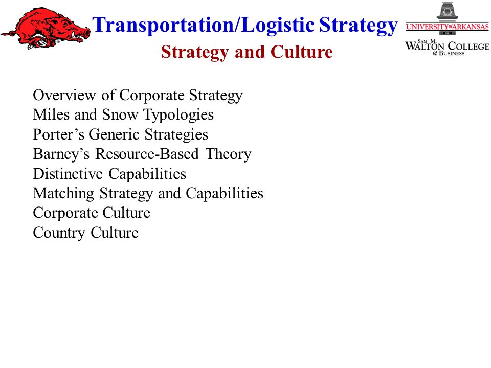 Strategy and Culture Transportation/Logistic Strategy Overview of Corporate Strategy Miles and Snow Typologies Porter's Generic Strategies Barney's Re