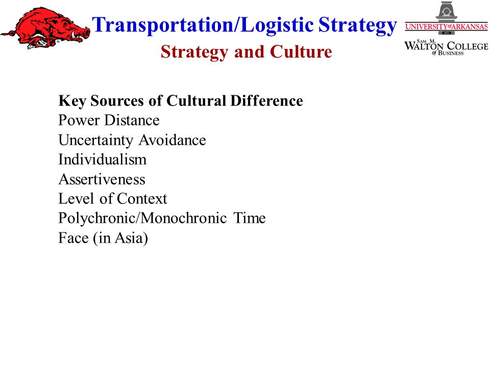 Strategy and Culture Transportation/Logistic Strategy Key Sources of Cultural Difference Power Distance Uncertainty Avoidance Individualism Assertiven