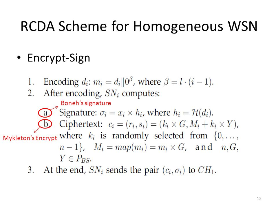 RCDA Scheme for Homogeneous WSN Encrypt-Sign Boneh's signature Mykleton's Encrypt 13