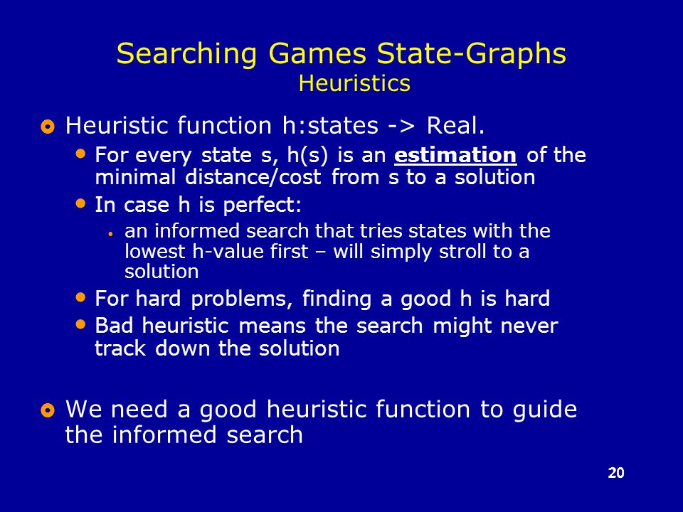 20 Searching Games State-Graphs Heuristics  Heuristic function h:states -> Real.