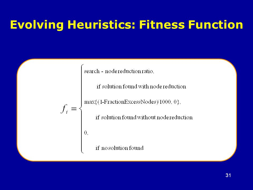 31 Evolving Heuristics: Fitness Function
