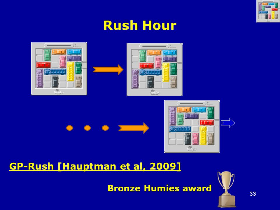 33 Rush Hour GP-Rush [Hauptman et al, 2009] Bronze Humies award
