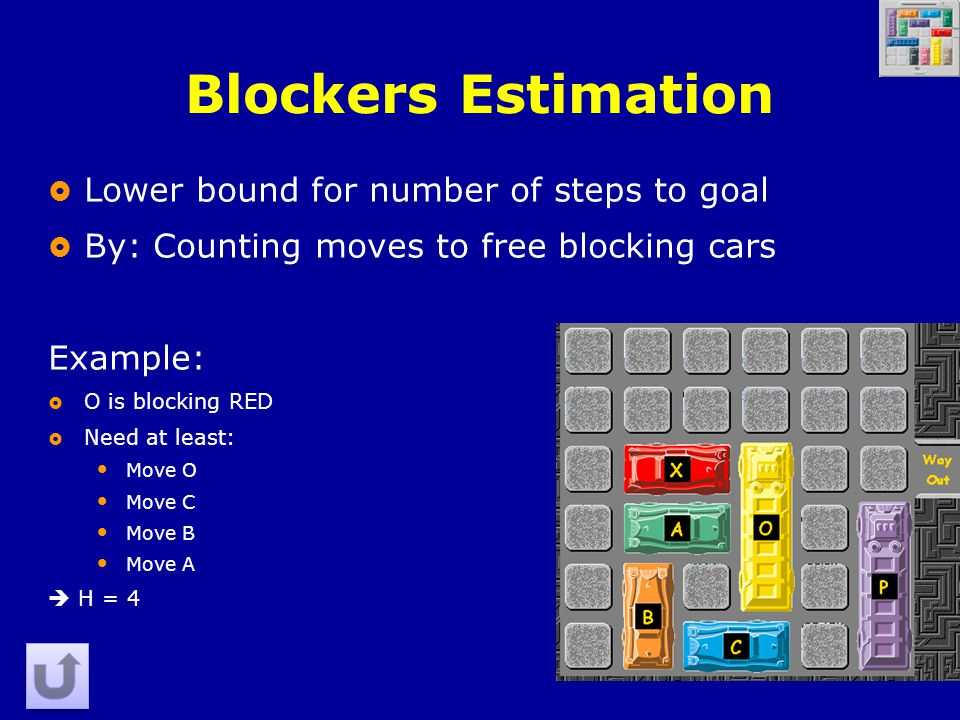 35 Blockers Estimation  Lower bound for number of steps to goal  By: Counting moves to free blocking cars Example:  O is blocking RED  Need at least: Move O Move C Move B Move A  H = 4