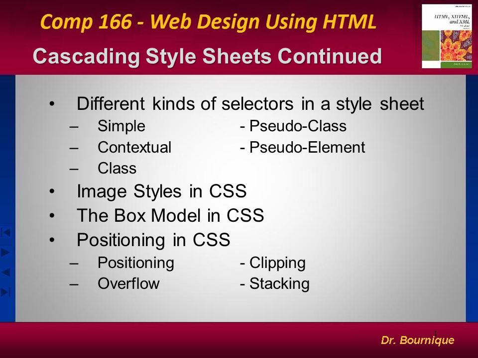 1 Cascading Style Sheets Continued Different kinds of selectors in a style sheet –Simple- Pseudo-Class –Contextual- Pseudo-Element –Class Image Styles in CSS The Box Model in CSS Positioning in CSS –Positioning- Clipping –Overflow- Stacking